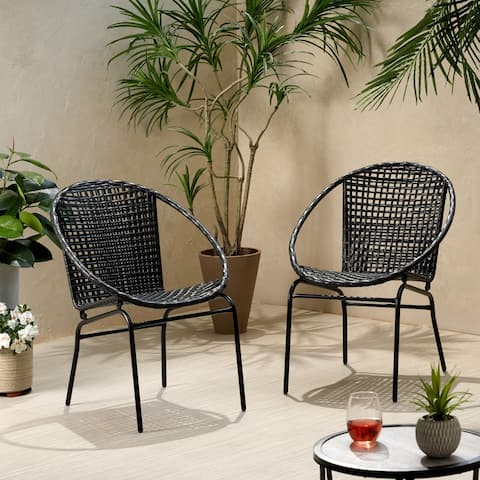 Java Outdoor Modern Wicker Club Chair (Set of 2) by Christopher Knight Home