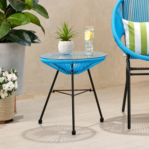 Nusa Outdoor Modern Wicker Side Table with Tempered Glass Top by Christopher Knight Home