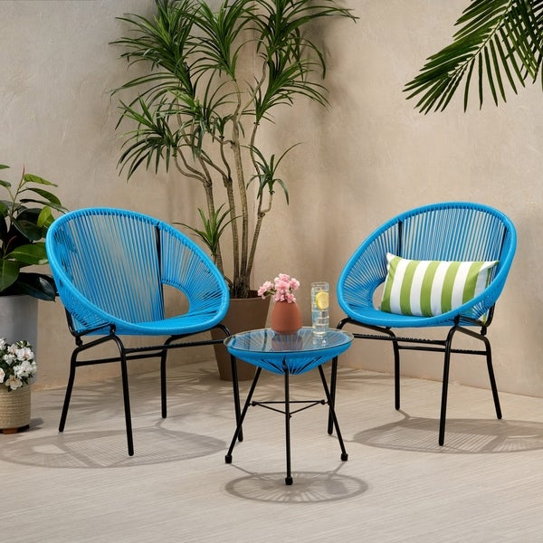 Nusa Outdoor Modern 2 Seater Faux Rattan Chat Set by Christopher Knight Home. Opens flyout.