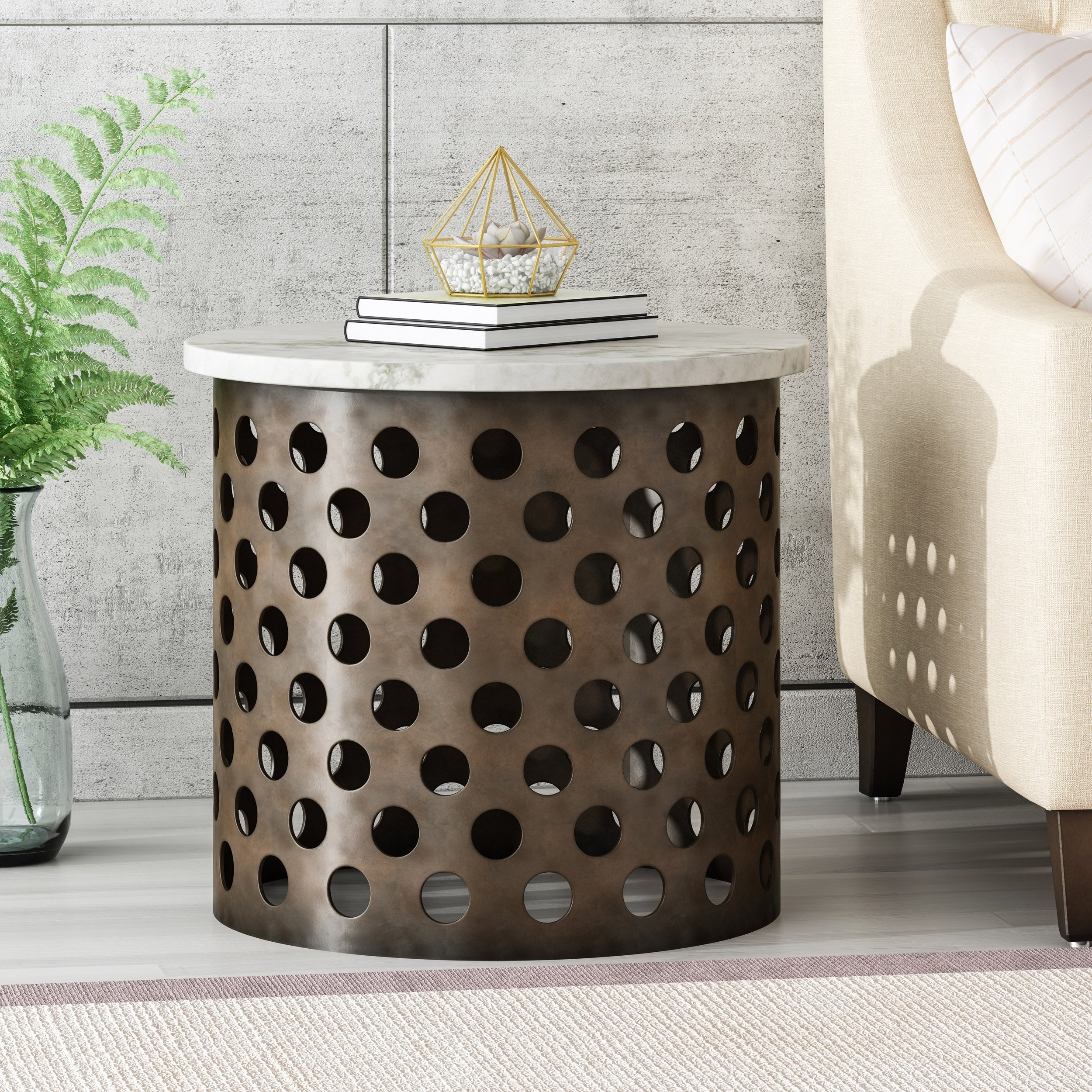 - Shop Ferdinand Modern Industrial Accent Table With Marble Table