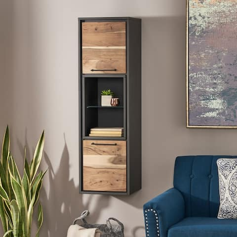 Bayless Modern Handcrafted Acacia Wood Cabinet by Christopher Knight Home