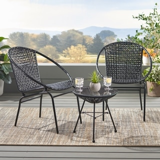 Java Outdoor Modern 2 Seater Wicker Chat Set by Christopher Knight Home