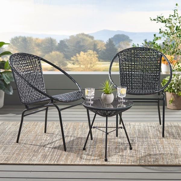 Java Outdoor Modern 2 Seater Wicker Chat Set by Christopher Knight Home. Opens flyout.