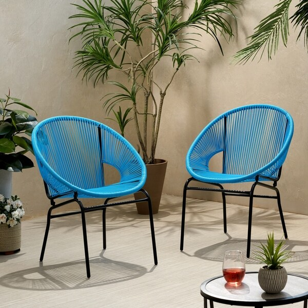 Nusa Outdoor Modern Wicker Club Chair (Set of 2) by Christopher Knight Home. Opens flyout.