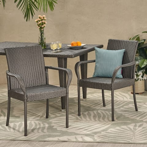 Trombone Outdoor Contemporary Wicker Dining Chair (Set of 2) by Christopher Knight Home