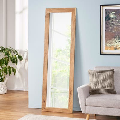 Beals Rustic Floor Mirror with Acacia Wood Frame by Christopher Knight Home
