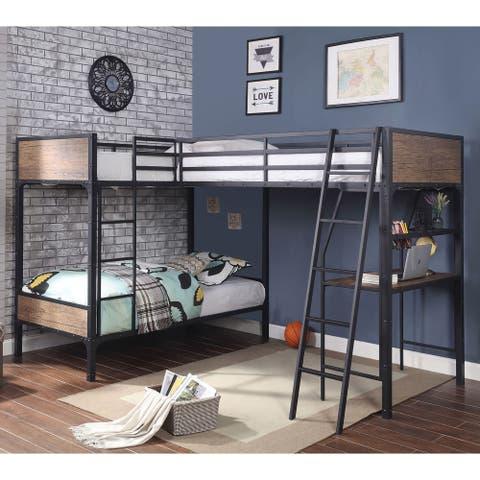 Furniture of America Gini Industrial Black Metal Triple Twin Bed