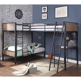Furniture of America Gini Industrial Black Metal Triple Twin Bed