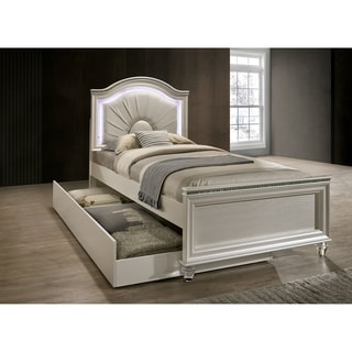 Link to Silver Orchid Avery Transitional Pearl White Panel Bed Similar Items in Bedroom Furniture
