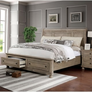 Furniture of America Sese Transitional Grey Solid Wood Sleigh Bed