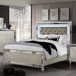 Silver Orchid Brian Transitional Silver Panel Bed