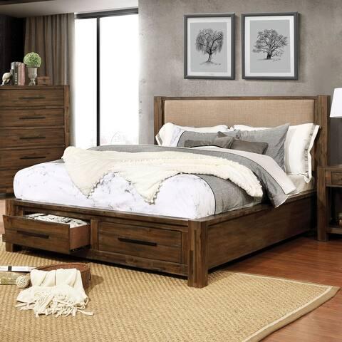 Furniture of America Pore Transitional Walnut Solid Wood Platform Bed