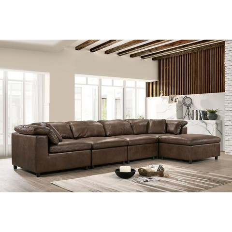 Keats Contemporary Brown Sectional by FOA