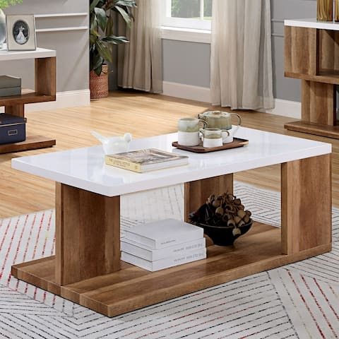 Furniture of America Rone Contemporary Brown Solid Wood Coffee Table