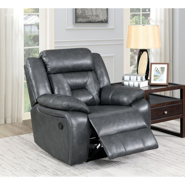 Furniture of America Mere Contemporary Grey Leatherette Recliner