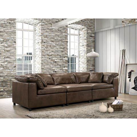 Keats Contemporary Brown Sofa by FOA