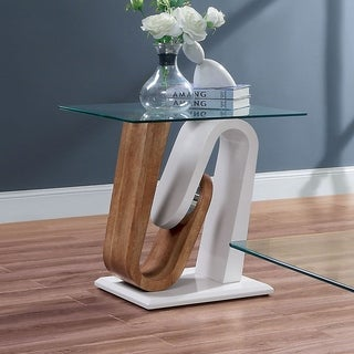 Strick & Bolton Tong White/ Wood Tempered-glass Top End Table