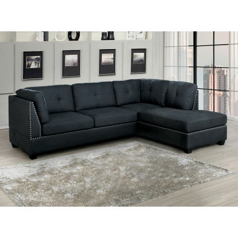 Furniture of America Herg Contemporary Grey Fabric Tufted Sectional