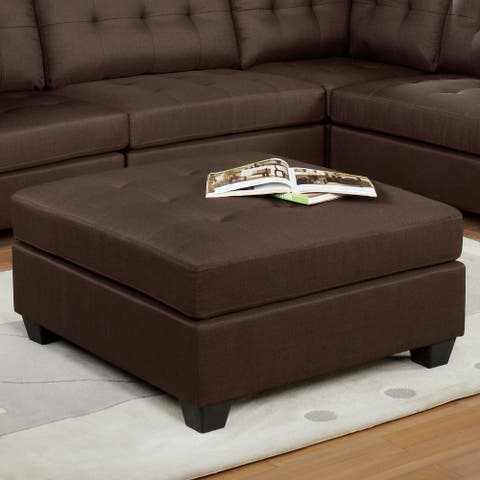 Furniture of America Fini Transitional Brown Fabric Cocktail Ottoman