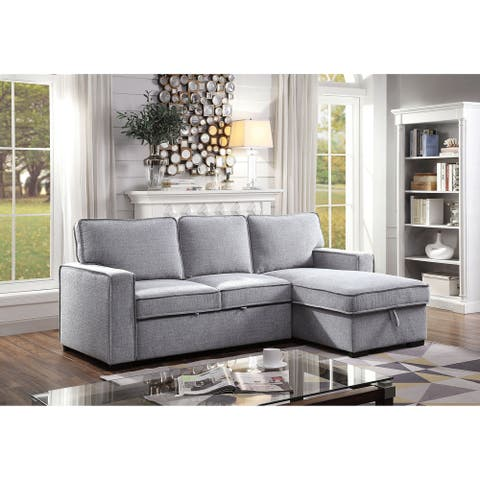 Furniture of America Pase Contemporary Grey Fabric Storage Sectional