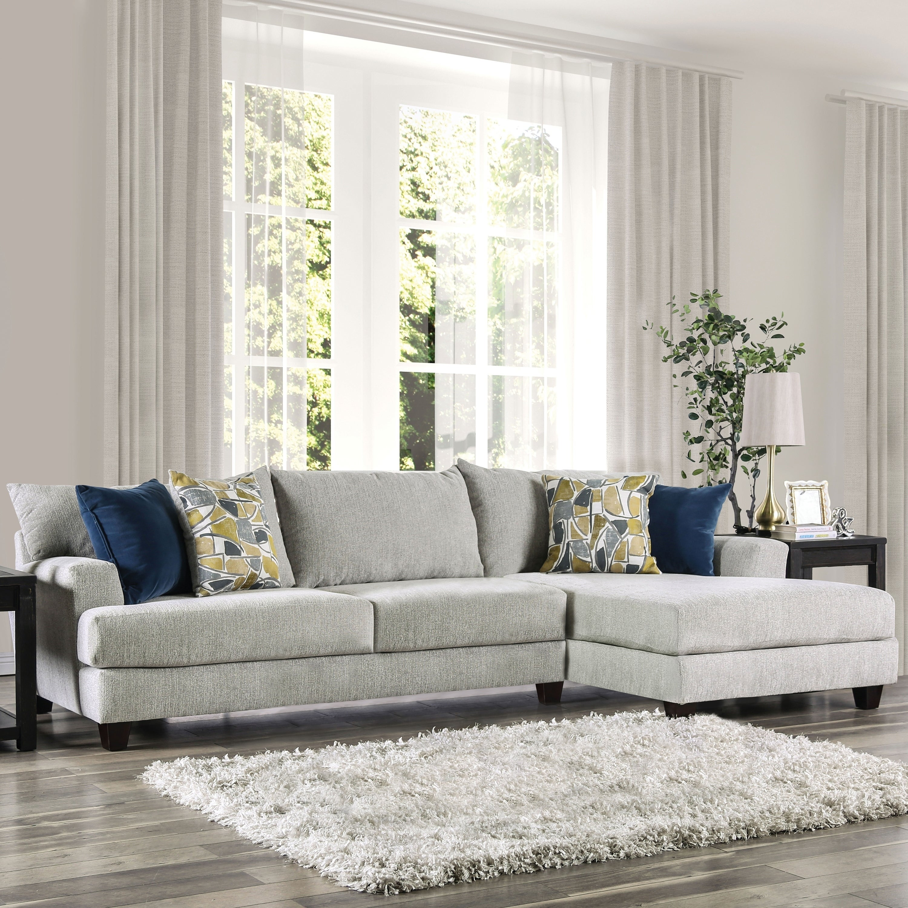 Magnani Contemporary Light Grey Sectional by FOA