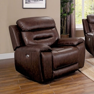 Furniture of America Cax Transitional Brown Leather Power Recliner
