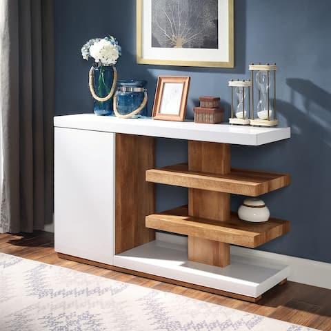 Carson Carrington Paddal White and Brown 47-inch 6-shelf Sofa Table
