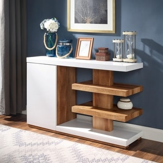 Milbury Contemporary White Sofa Table by FOA