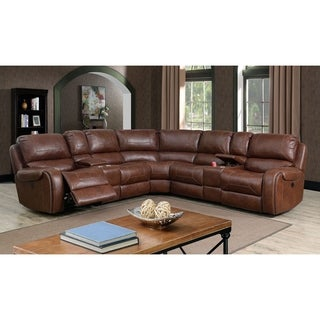 Furniture of America Fell Transitional Leatherette Power Sectional
