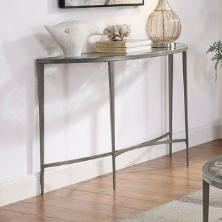 Furniture of America Fage Contemporary White Tempered Glass Sofa Table