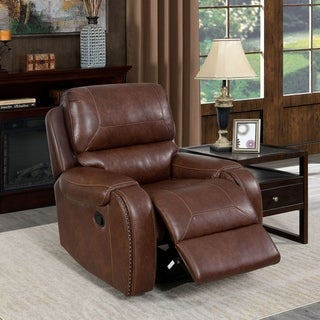 Furniture of America Breg Transitional Faux Leather Recliner Chair