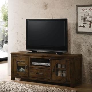 Furniture of America Kowe Industrial 60-inch Oak Solid Wood TV Stand