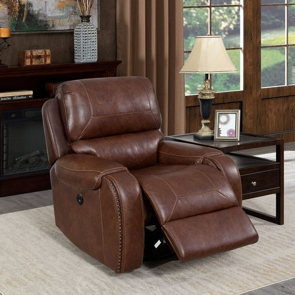 Furniture of America Breg Transitional Swivel Power Recliner Chair