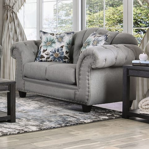 Furniture of America Jath Transitional Grey Fabric Nailhead Loveseat