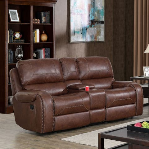 Furniture of America Breg Transitional Faux Leather Reclining Loveseat