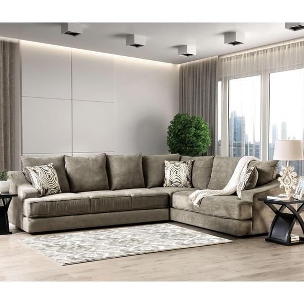 Furniture of America Senn Contemporary Fabric L-shape Sectional