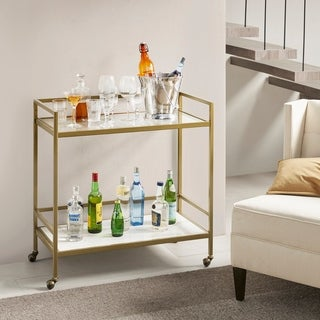Link to Martha Stewart Lionel Antique Gold Two Tier Bar Cart on Wheels Similar Items in Kitchen Carts
