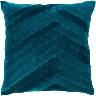 Evangeline Teal Stiched Velvet 18-inch Poly or Feather Down Pillow
