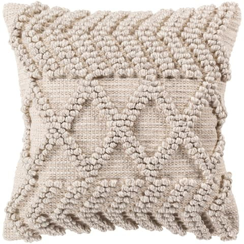 Audra Bohemian Textured 22-inch Poly or Feather Down Throw Pillow