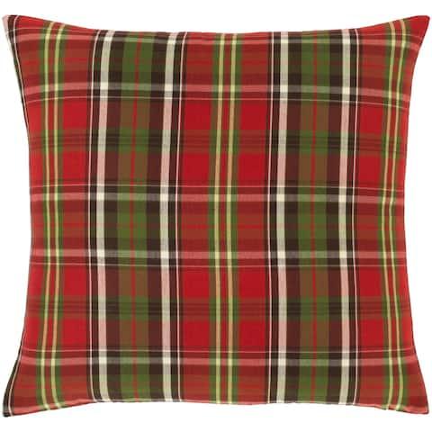 Atoka Plaid Tartan 18-inch Poly or Feather Down Throw Pillow