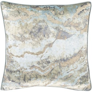 Ada Marble Velvet 18-inch Poly or Feather Down Throw Pillow