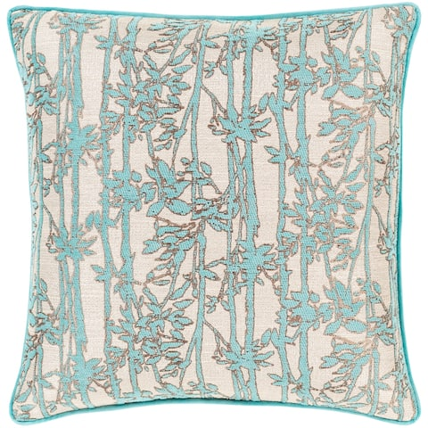 Brier Jacquard Floral 18-inch Poly or Feather Down Throw Pillow