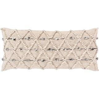Audra Bohemian Textured 32x14-inch Poly or Feather Down Lumbar Throw Pillow