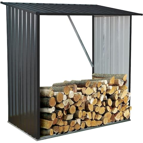 Hanover Indoor/Outdoor Galvanized Steel Firewood Storage Rack Holds up to 55 CU. FT. of Stacked Firewood