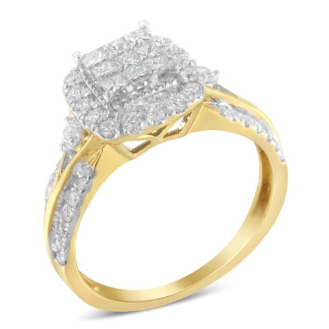 10K Yellow Gold 1ct. TDW Diamond Composite Ring (H-I,SI1-SI2)