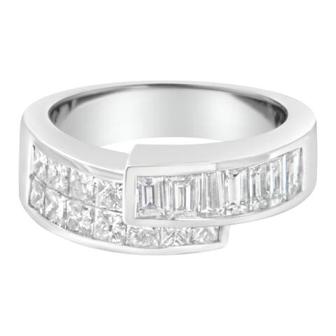 14K White Gold 2 ct TDW Princess and Baguette-cut Diamond Ring (G-H, SI1-SI2)