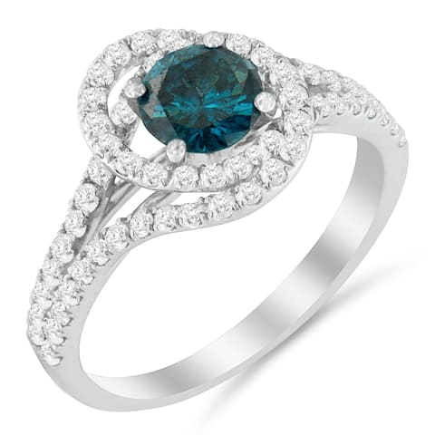 14k White Gold 1 1/3 ct TDW Treated Blue Diamond Engagement Ring (Blue, SI2-I1)