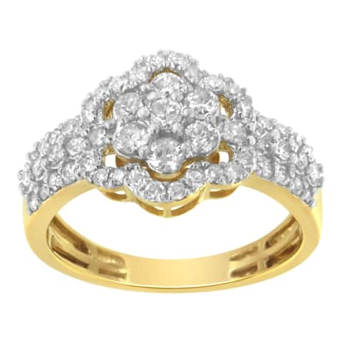 2 Micron 10K Yellow Gold plated Sterling Silver 1ct. CTW Diamond Flower Cluster Ring (I2-I3,J-K)