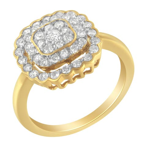 2 Micron 10K Yellow Gold plated Sterling Silver 3/4ct TDW Diamond Cocktail Ring (J-K,I2-I3)