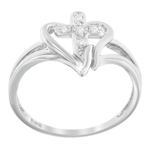 10k White Gold Cross 1/25ct TDW Diamond Ring (H-I, I1-I2)